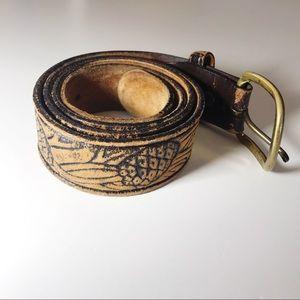Vintage Tooled Leather Belt Solid Brass Buckle 38